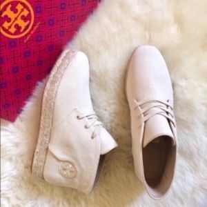 Tory Burch Rio Lace-Up Canvas Espadrille Booties